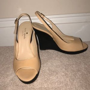 Black and Nude Kate Spade Wedges